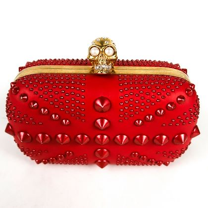 alexander-mcqueen-studded-skull-clutch-red-gold-clasp-britannia-pre-owned-owned