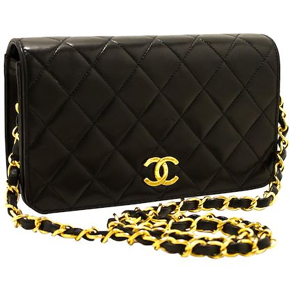 chanel-small-chain-shoulder-bag-black-clutch-flap-quilted-lambskin-17