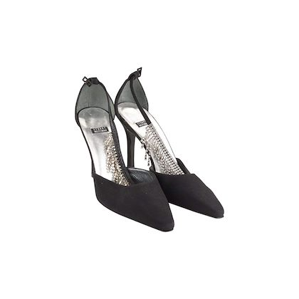 Stuart Weitzman Black D'Orsay Pumps Heels Shoes With Crystals Size 40 It