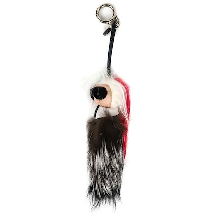 fendi-karlito-bag-charm-pink-mink-fox-fur-karl-key-chain-pre-owned-owned