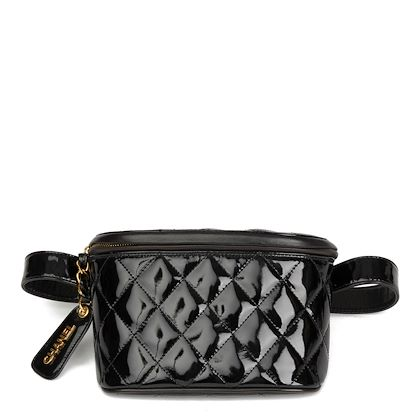 black-quilted-patent-leather-vintage-timeless-belt-bag