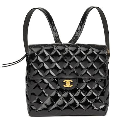 black-quilted-patent-leather-vintage-classic-timeless-backpack