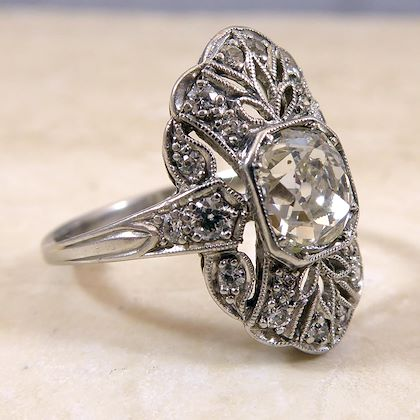 1.25 Carat Old European Cut Diamond Ring, Vintage Circa 1940s, Platinum Band