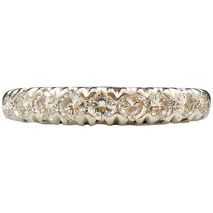 0.70 Carat Vintage Diamond Half Eternity Ring, White Gold, Birmingham, 1990