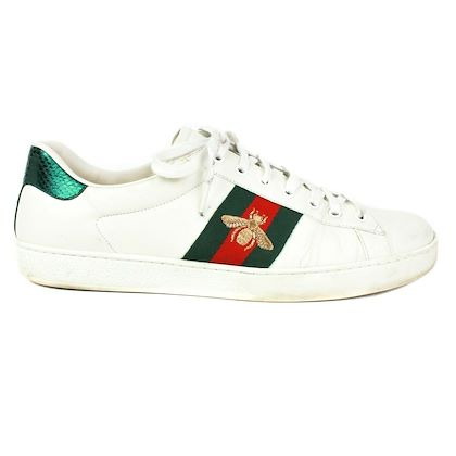 gucci-ace-bee-sneakers-white-leather-red-green-it-12-us-13-pre-owned-used
