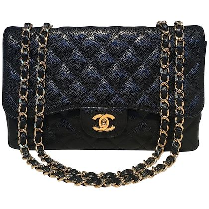 chanel-black-quilted-caviar-leather-maxi-classic-flap-shoulder-bag