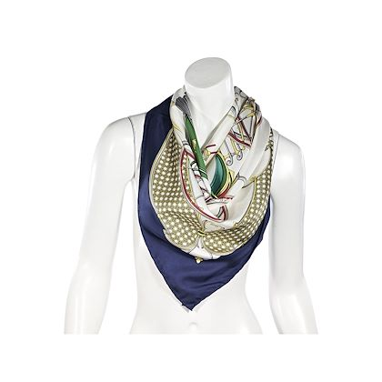 vintage-navy-and-white-gucci-carriage-multicolor-silk-scarf