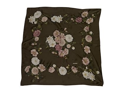 olive-green-chanel-silk-floral-printed-scarf