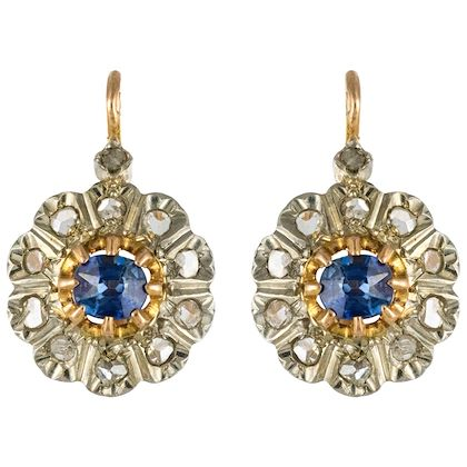 1880s-french-napoleon-3-rose-cut-diamonds-sapphire-sleepers-earrings