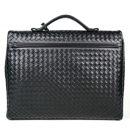 bottega-veneta-briefcase-black-woven-leather-handle-large-pre-owned-used