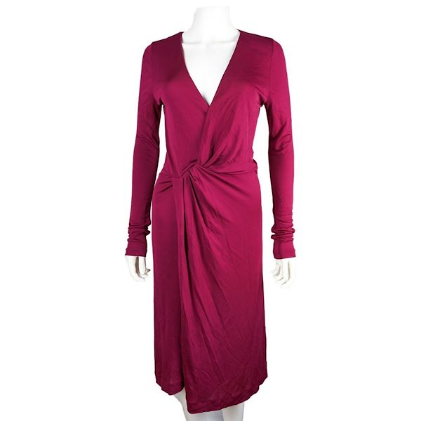 gucci-dress-surplice-knit-red-maroon-v-neck-long-sleeve-large-us-10-new