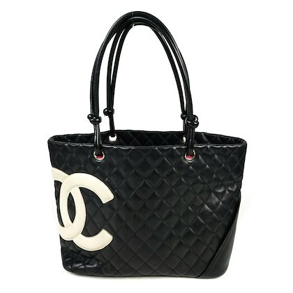 chanel-cambon-medium-tote-bag-black-quilted-leather-white-cc-logo-pink-pre-owned-used