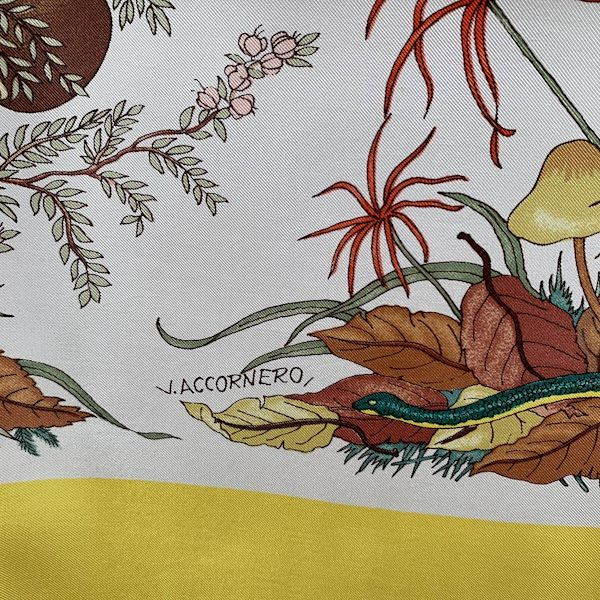 Gucci Vintage Silk Scarf Funghi Mushrooms 1967 Accornero