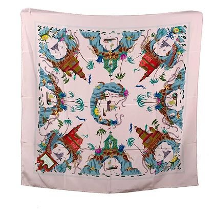 Gucci Vintage Silk Scarf Accornero Cineserie Chinoiserie