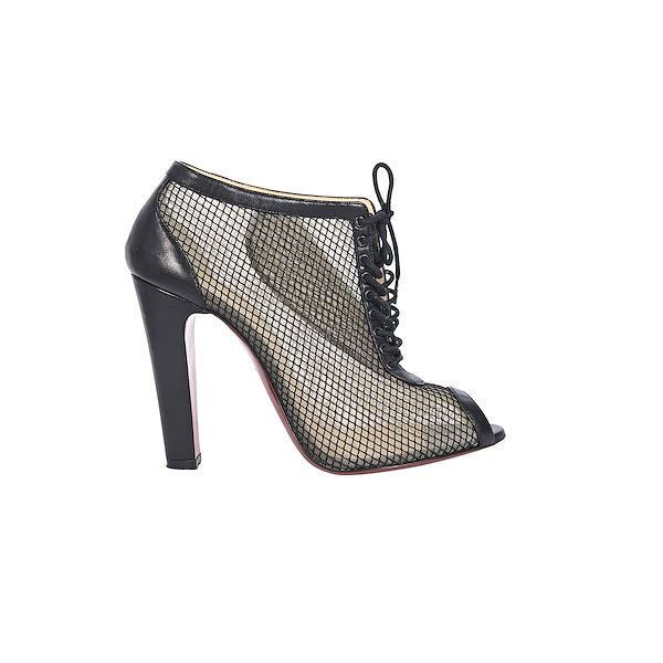 newest collection 4a365 8798c Black Christian Louboutin Mesh Ankle Boots