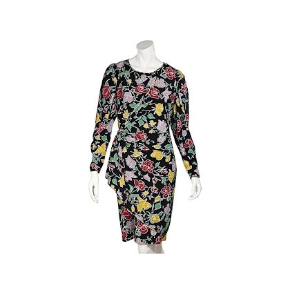 black-and-multicolor-ungaro-silk-floral-printed-dress