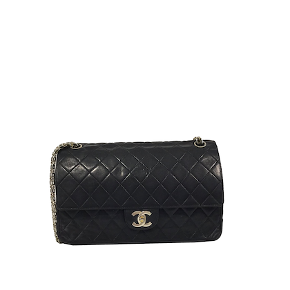 chanel-classic-flap-bag-with-silverhardware