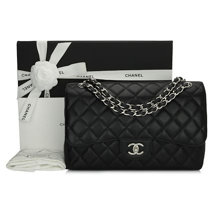 chanel-double-flap-jumbo-black-caviar-silver-hardware-2013-2