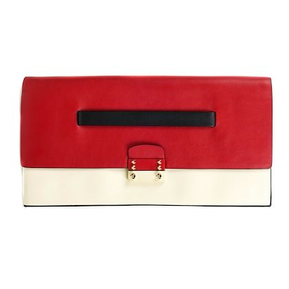 valentino-red-white-black-leather-large-clutch-with-studs-pre-owned-used