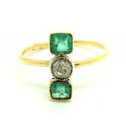 antique-edwardian-diamond-emerald-18ct-gold-ring