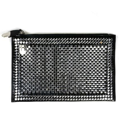 prada-large-madras-clutch-1460-woven-silver-black-leather-front-clasp-new