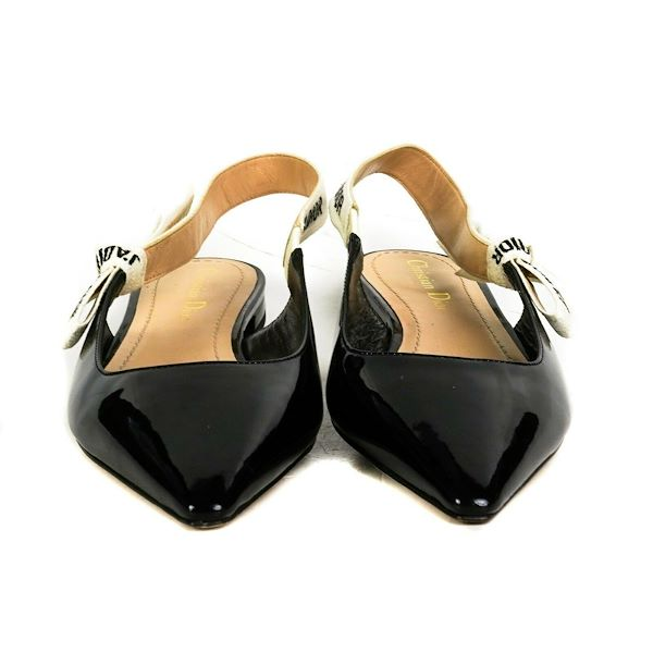 christian-dior-jadior-logo-flats-black-patent-leather-strap-shoes-us-8-38-new