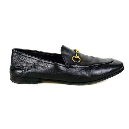 gucci-driving-loafers-horsebit-black-leather-buckle-shoes-us-85-385-pre-owned-used