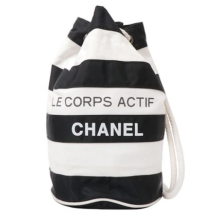 chanel-canvas-striped-logo-print-drawstring-shoulder-bag-blackwhite