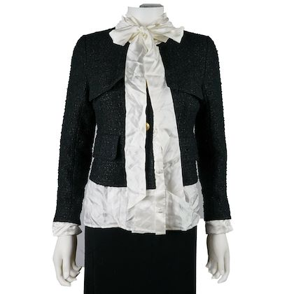vetements-blazer-with-bow-tie-black-tweed-white-satin-us-m-38-pre-owned-used