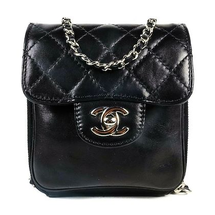 chanel-mini-crossbody-flap-bag-cc-shoulder-black-wallet-on-a-chain-silver-woc-pre-owned-used