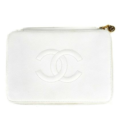 chanel-caviar-clutch-cc-large-logo-white-leather-wallet-pre-owned-used