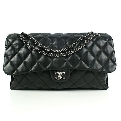 chanel-maxi-shoulder-flap-bag-black-quilted-leather-lambskin-silver-pre-owned-used