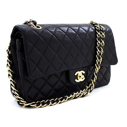 chanel-255-double-chain-flap-shoulder-bag-black-quilted-lambskin-leather-2