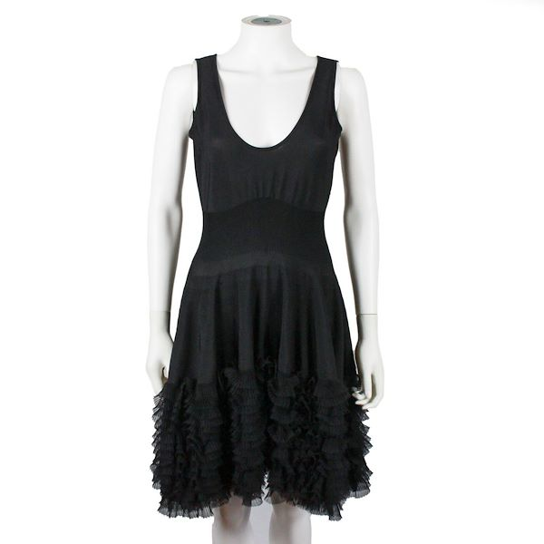 alexander-mcqueen-black-fit-and-flare-ruffled-dress-us-s-it-42-pre-owned-used