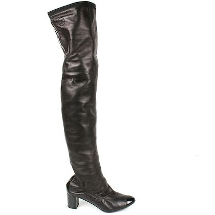 chanel-boots-thigh-high-black-leather-block-heels-us-65-37-pre-owned-used