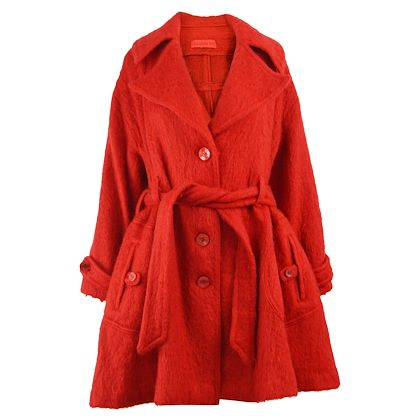 Dorothée Bis 1980s Red Mohair & Wool Overcoat