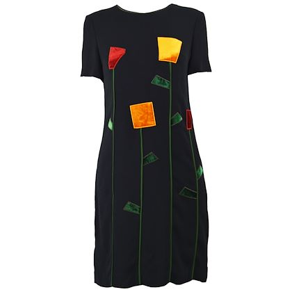 Moschino 1990s Black Crepe & Velvet Cocktail Dress