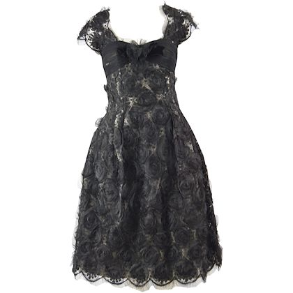 Hardy Amies Couture 1950s Black Silk Dress