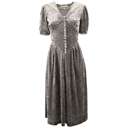 Miss Julie 1970s Silver Panne Velvet Dress