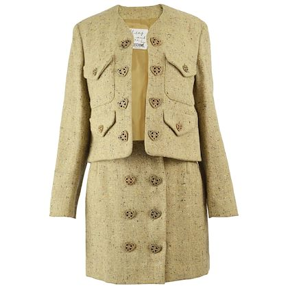 Moschino 1990s Wool Tweed Two Piece Skirt Suit