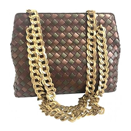 vintage-bottega-veneta-bronze-and-brown-intrecciato-woven-lambskin-shoulder-bag-with-golden-double-chain-straps