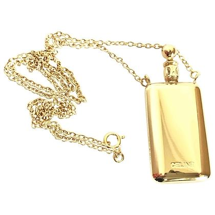 vintage-celine-gold-tone-long-necklace-with-perfume-bottle-charm-pendant-top-and-blaison-logo-rare-old-jewelry-piece-must-have