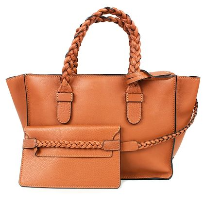 valentino-tan-leather-rope-braided-large-tote-bag-with-attached-wallet-pre-owned-used