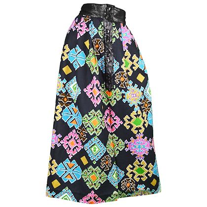 Lanvin 1970s Aztec Patterned Maxi Skirt