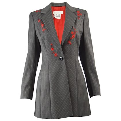 Escada 1990s Embroidered Pinstripe Wool Jacket