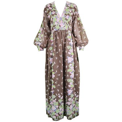 Albert Capraro 1970s Brown Floral Maxi Dress