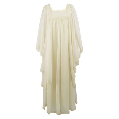 Pat Farrell 1970s Lace Trim Angel Sleeve Maxi Dress
