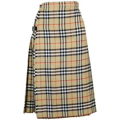 Burberry 1980s Nova Check Kilt Skirt
