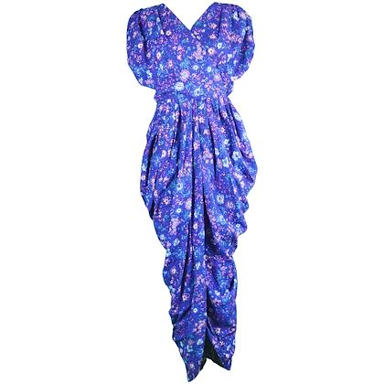 Droopy & Brown 1980s Blue Floral Print Maxi Dress