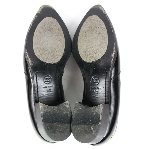 chanel-black-cc-logo-loafers-patent-leather-block-heels-us-8-385-pre-owned-used